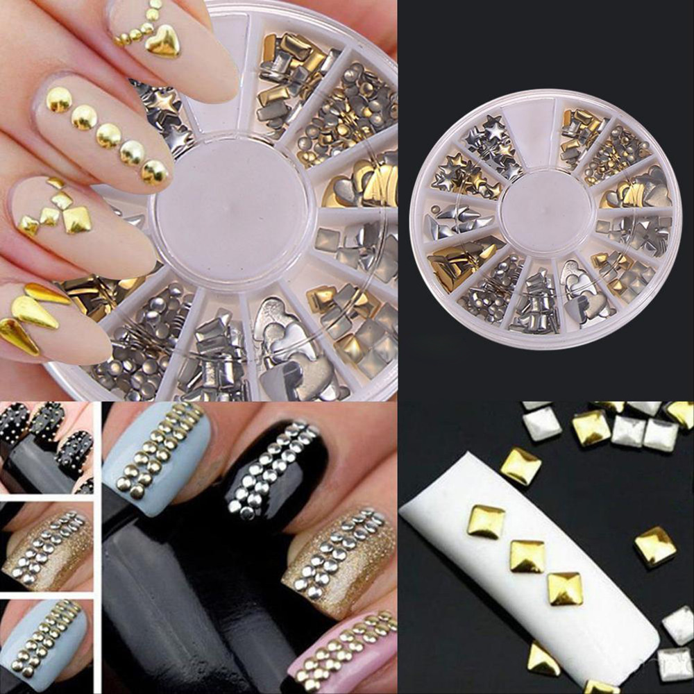 Hot 1200Pcs 3D Gold Silver Nail Glitter Design Crystal Stone Nail Wheel Women Make Up Decoration Nail Art Decorations DIY Tools