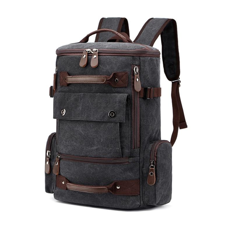 Canvas Men Vintage Backpack Bag Male Backpack 15.6 Inch Laptop Outdoor Travel Bagpack School Bags For Teenage Luggage Back Pack