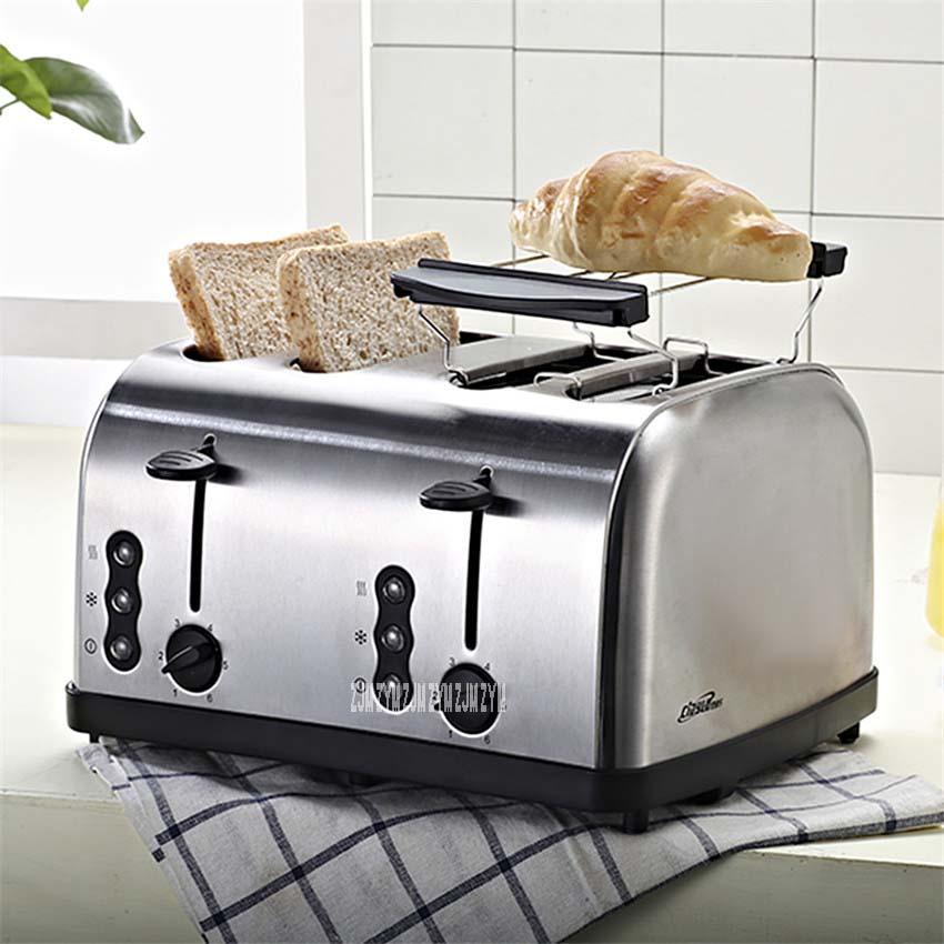 623 Высокое качество бытовой многофункциональный из нержавеющей стали 2 ломтика/4 ломтика тостер автоматический Тостер машина для завтрака серебро - Цвет: Silver 4 slices