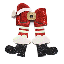 Adogirl Christmas Hat Hair Bows Cloud Boots Sequins Clips School Girls Party Headwear Handmade Boutique Accessories