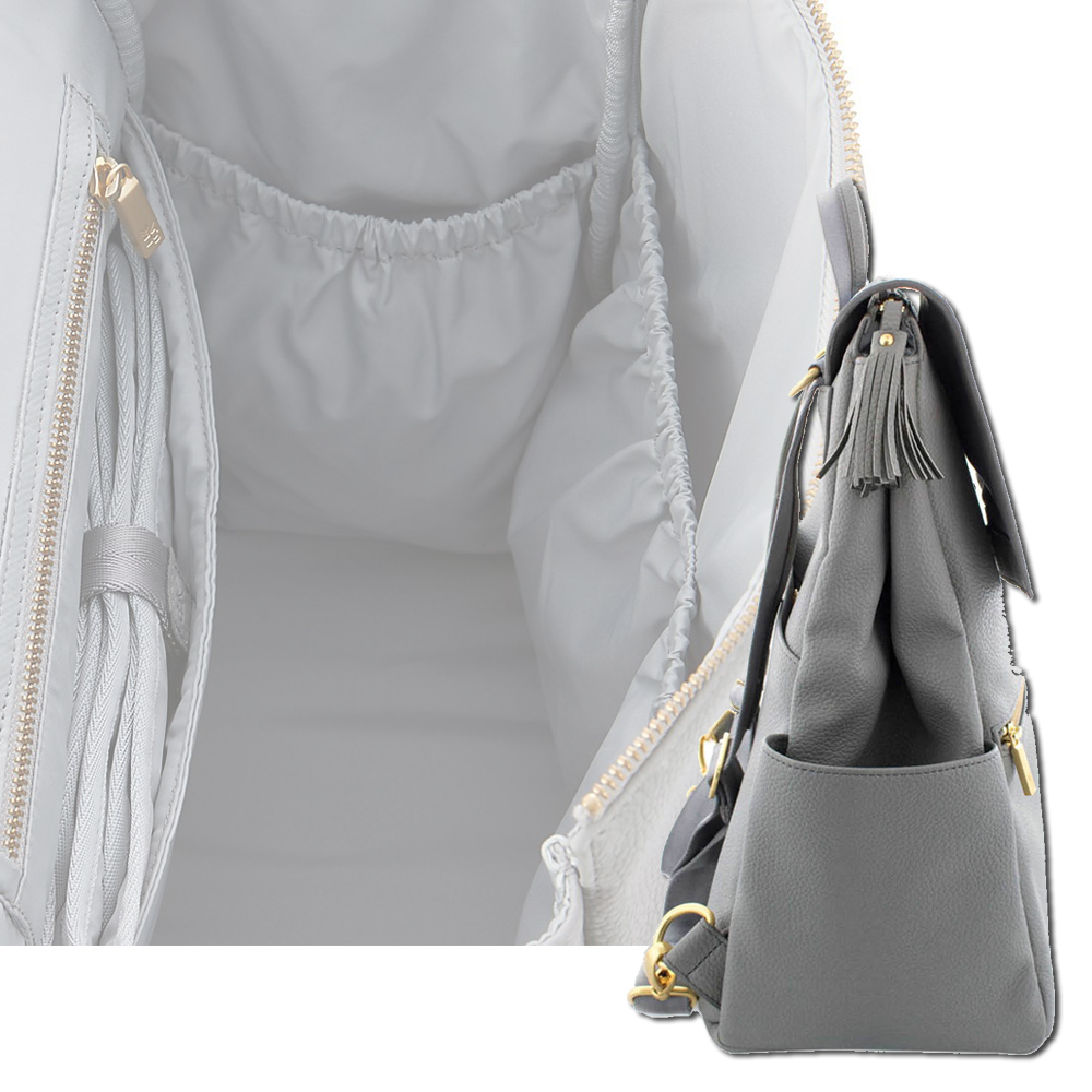 Image 3 - PU Leather Baby Diaper Bag Backpack+Changing Pad+Stroller Straps-in Diaper Bags from Mother & Kids