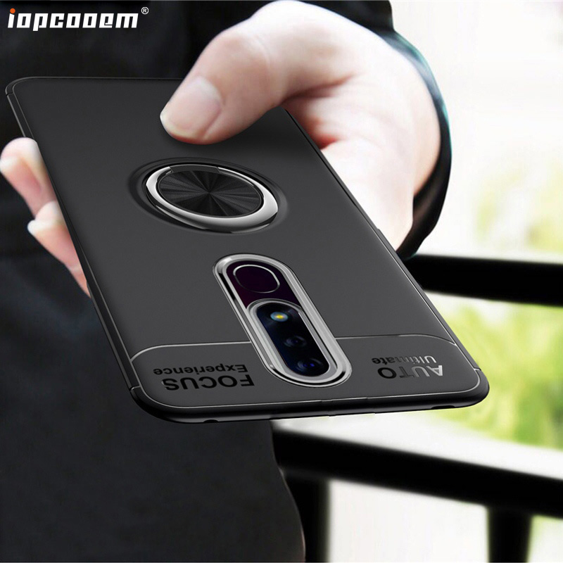 3.1 Plus Case For <font><b>Nokia</b></font> 6.1 Shell 5.1 Plus With finger ring Magnetism Holder Phone Back Cover For <font><b>Nokia</b></font> <font><b>7.1</b></font> Coque image