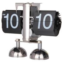 Digital Auto Flip Desk Clock 12 Hour Stainless Steel Flip Internal Gear Operated Quartz Clock Small Balance Stand Table Clock Wa