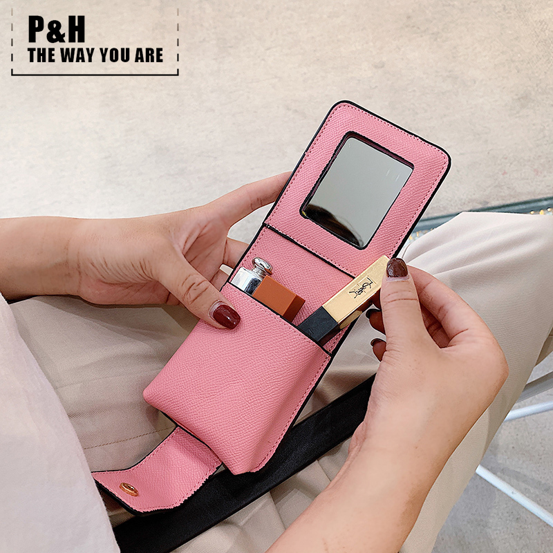 Pat&hap Super Pop Lipstick Bag Leather Pink Vs Chapstick Holder Mirror Cosmetic Bags  Make Up Case Fashion Toiletry Makeup Bag