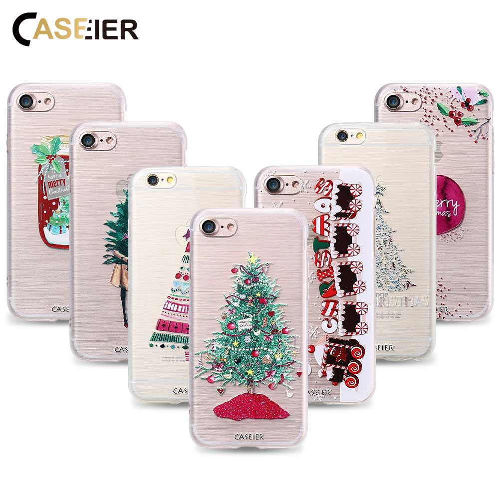 CASEIER Christmas Cases For iPhone X XR XS Max Luxury Silicone Case ...