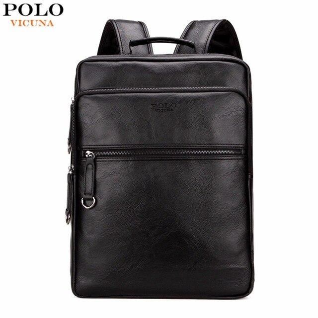 VICUNA POLO Большой Емкости Cool Черный Кожа Мужчины Рюкзак Продвижение Твердые Черные Мужские Ноутбук Рюкзак Кожаный Рюкзак mochila