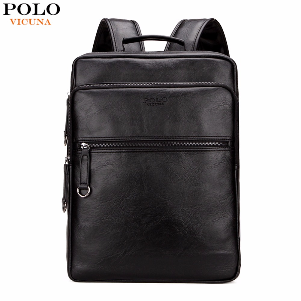 VICUNA POLO Large Capacity Cool Black Leather Men font b Backpack b font Promotion Solid Black