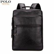 Vicuna polo de gran capacidad de promoción solid negro para hombre de cuero negro fresco hombres mochila portátil mochila de cuero mochila mochila