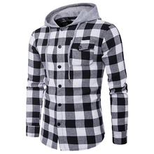 ZOGAA 2019 Men Fashion Hoodie Cotton Full Sleeve Hooded Plaid with Hat Man Casual Street Wear Chest Pocket Design Cowboy Hoodies ombre topstitched pocket design hoodie