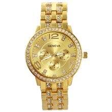 Chapado En Oro de lujo de Los Hombres Reloj de diamantes de Imitación de Cristal Famosa Marca Reloj de pulsera Para Los Hombres de Negocios de Moda Clásico Cuarzo Reloj de Los Hombres