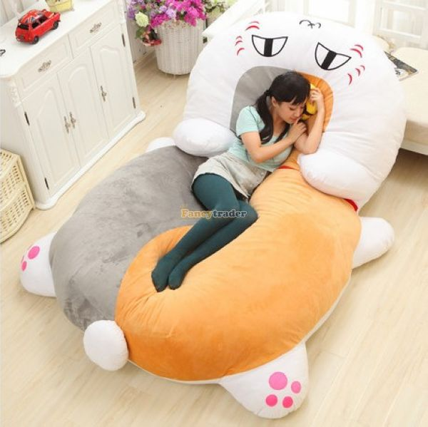 fancytrader 210cm x 150cm giant plush stuffed nyanko sensei cat bed tatami sofa carpet nice. Black Bedroom Furniture Sets. Home Design Ideas