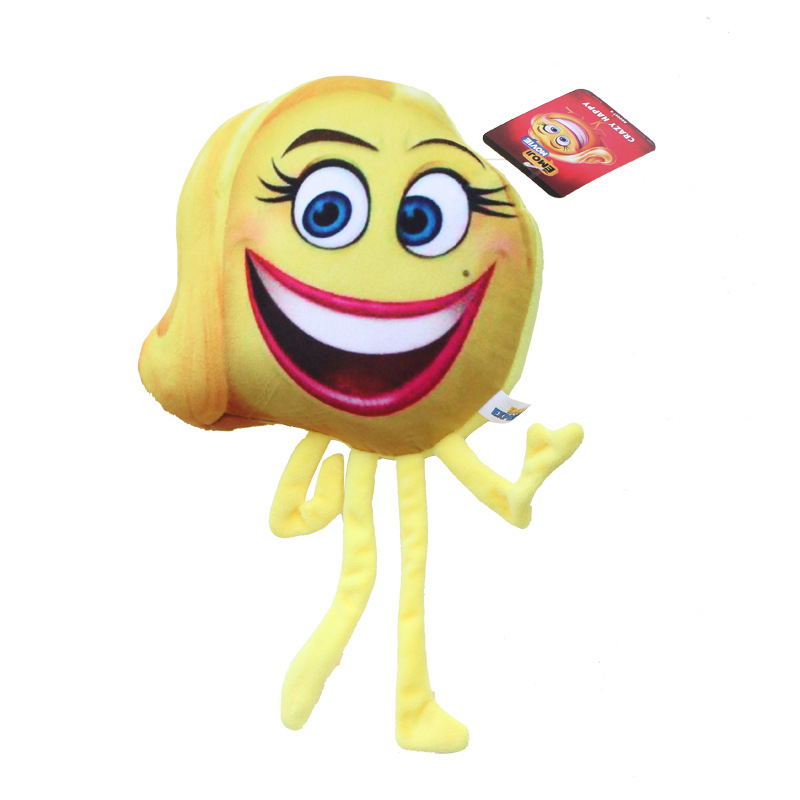 1pcs Action Figures Toys Gifts Collection For Anime The Emoji Movie Plush Toys Express Crazy Happy Emoji Happens Red Devil 20cm