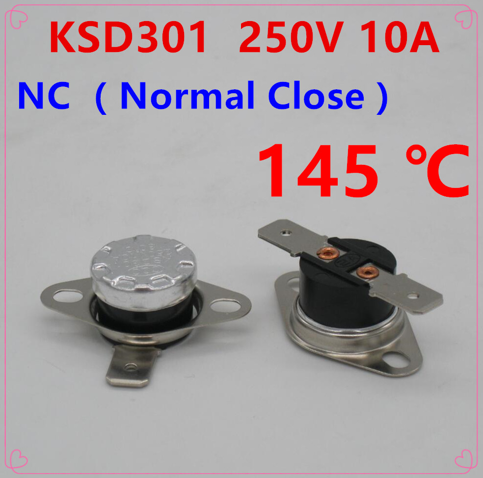 10Pcs KSD301 145 Degrees Celsius 145 C Normal Close NC Temperature Controlled <font><b>Switch</b></font> Thermostat <font><b>250V</b></font> <font><b>10A</b></font> <font><b>Thermal</b></font> Protector image