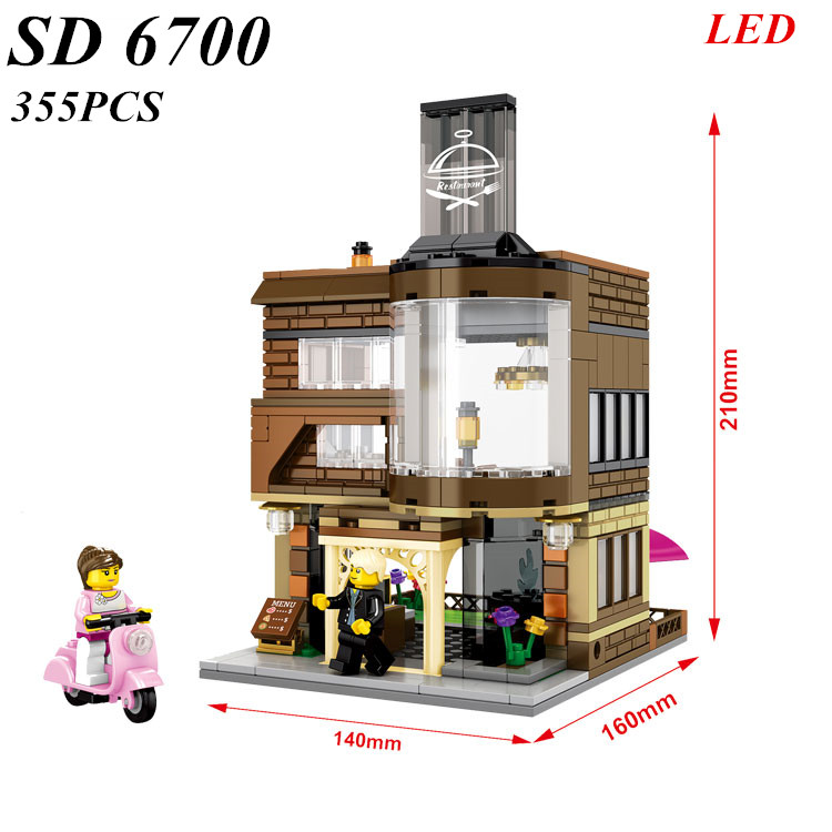 AIBOLLY NEW SD6700 hot city mini Street View Building blocks Paris Restaurant with Light emitting assembly Toys for children nokia 6700 classic illuvial