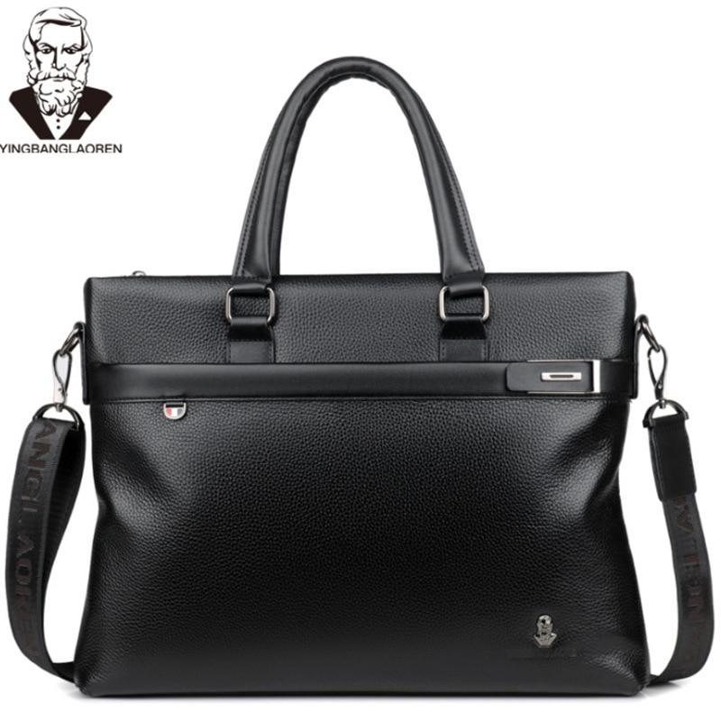 Men Genuine Leather Briefcase Male Business Travel Bag Computer Laptop Handbag Casual Shoulder Crossbody Bag Man Messenger Bag