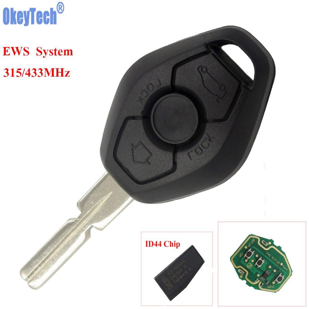 Okeytech автомобиль дистанционного брелок для bmw ews 1/3/5/7 серии X3 X5 Z3 Z4 315/433 мГц ID44 чип Автозапуск передатчик ключ HU58 лезвие
