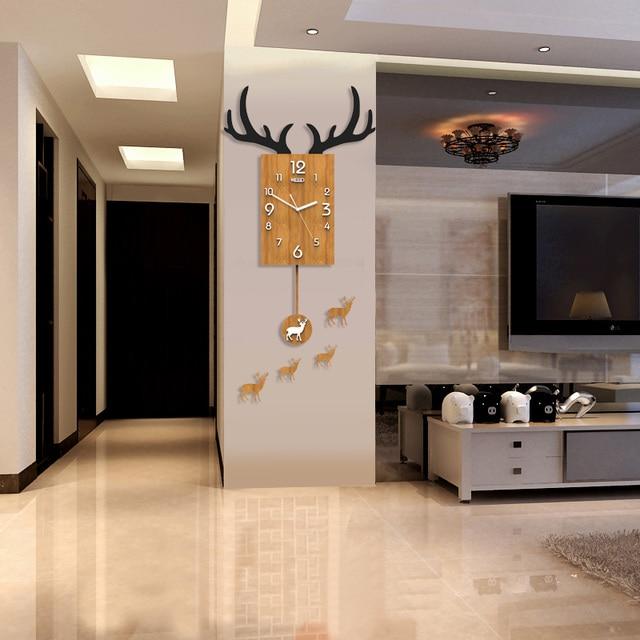 Uhr Wohnzimmer Wanduhr Kreative Moderne Minimalistische Uhr Personalisierte  Dekoration Mode Uhr Geweih Nordic Quarz Cl