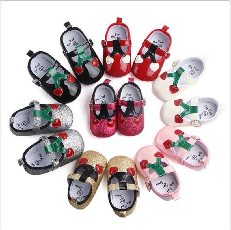 Lovely Cherry Baby Girl First Walkers Antislip Infants Princess Shoes