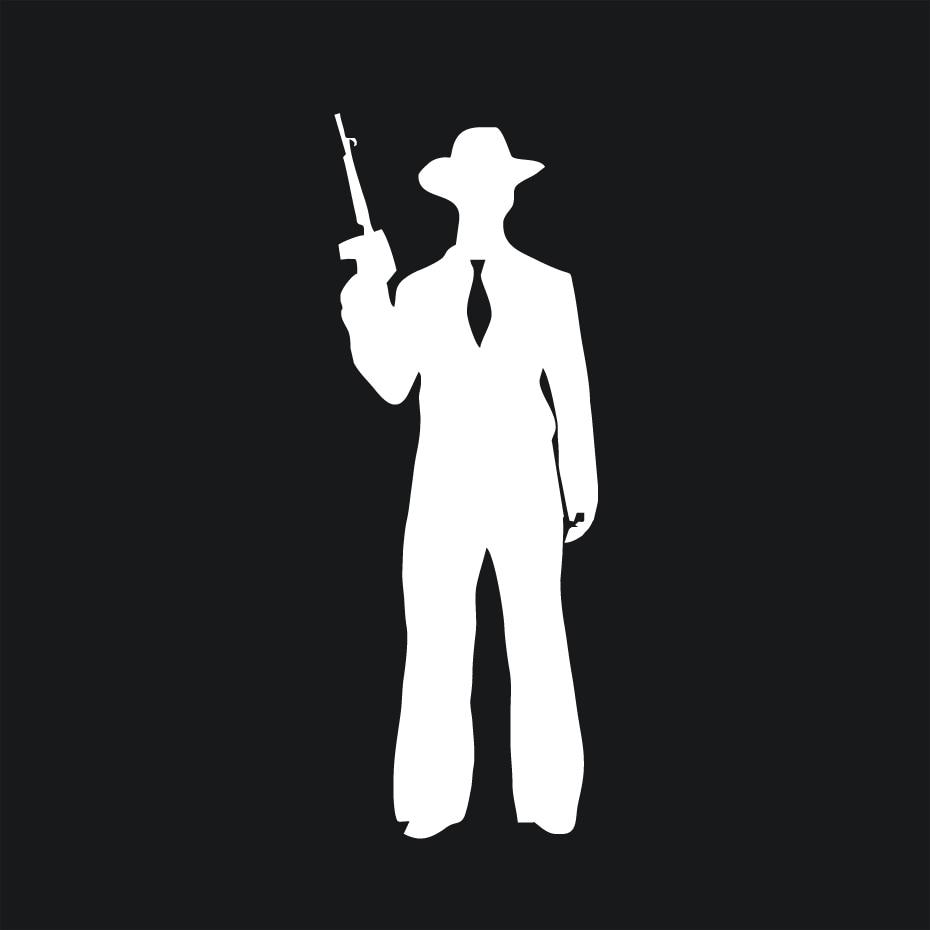 Gangster sticker mobster retro crime decal silhouette tommy gun gangsta mafia v2 high quality vinyl diy car stickers