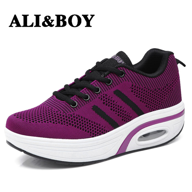 1dfed876a975 ALIBOY Mesh Mother shoes woman on platform sneaker wedges swing toning fitness  sneakers women Outdoor Lightweight Walking ladies