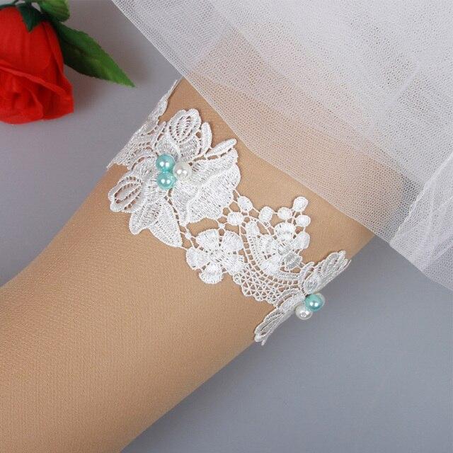 91120b93a8 1 piezas marfil y azul perlas encaje novia liguero ligas accesorios novia  de la boda favores