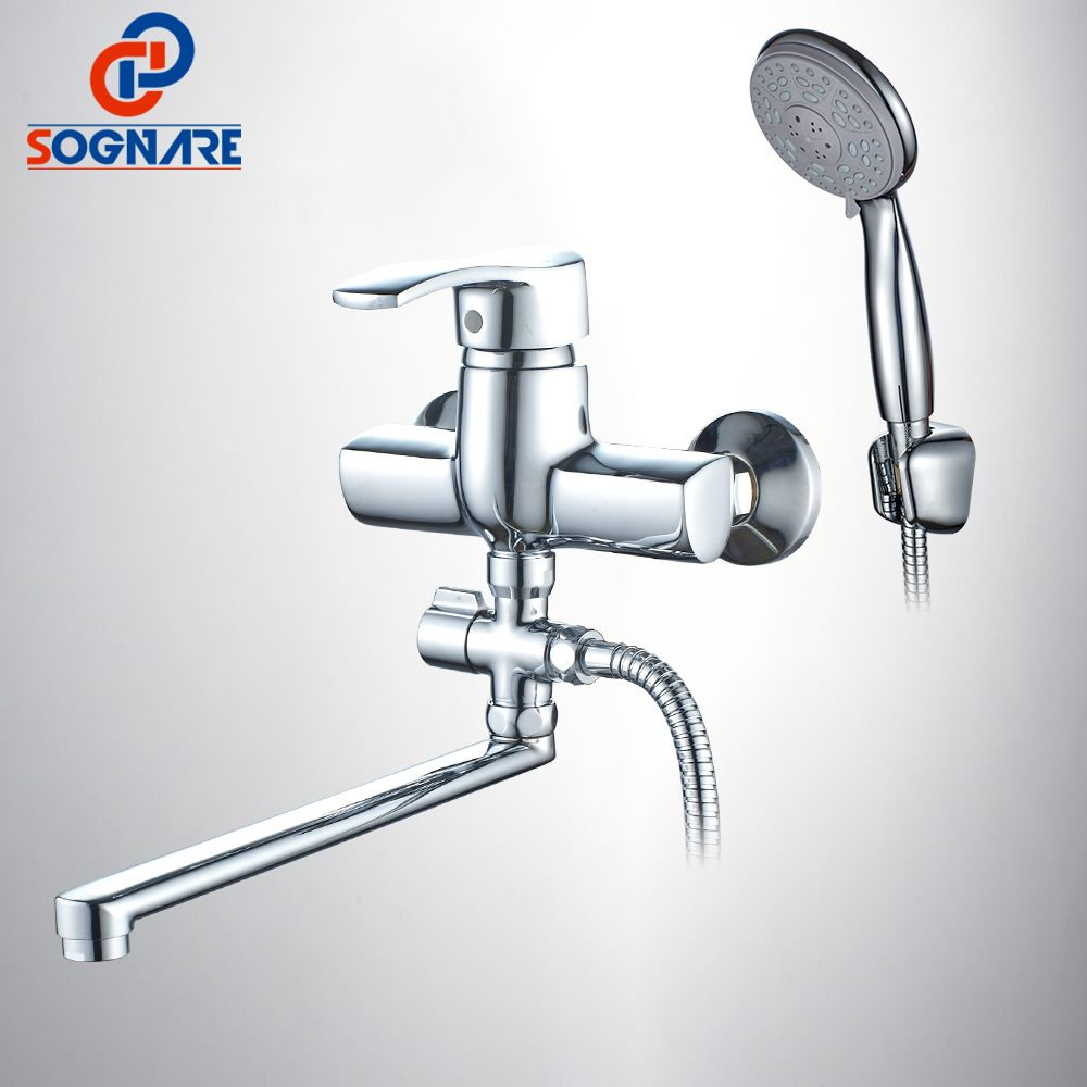 SOGNARE Wall Mounted Bathroom Shower Faucet 300mm Long Spout Bathtub Sink Faucet With Hand Shower Head Water Mixer Taps D5124 china sanitary ware chrome wall mount thermostatic water tap water saver thermostatic shower faucet