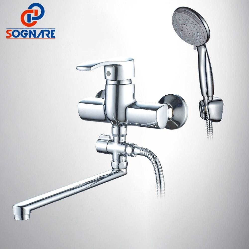 SOGNARE Wall Mounted Bathroom Shower Faucet 300mm Long Spout Bathtub ...