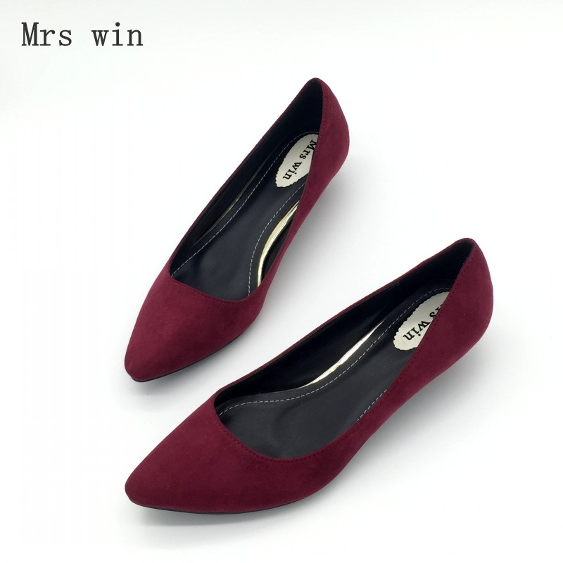 Sexy Women Low Heel Pumps Spring Autumn Flock Plain Shallow Slip On Female Pumps Shoes Ladies