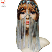Tribal fusion Silver color chandelier Face chain harness jewelry headdress belly dance KD044