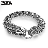Mens Biker Sterling 925 Silver Dragon Curb Chain Bracelet Thai Vintage Style Dragon Link Handcrafted Punk Men Bracelet Bangle