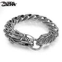 Mens Biker anello in Argento Sterling 925 Drago Curb Catena Braccialetto Thai Stile Vintage Drago Link Handcrafted Punk Degli Uomini Del Braccialetto Del Braccialetto