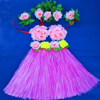 5pcs/set Girl Grass Skirt Fashion Show Dance Hula Suit Children Clothing Hawaiian Costume Flower Bra Headband Wristband