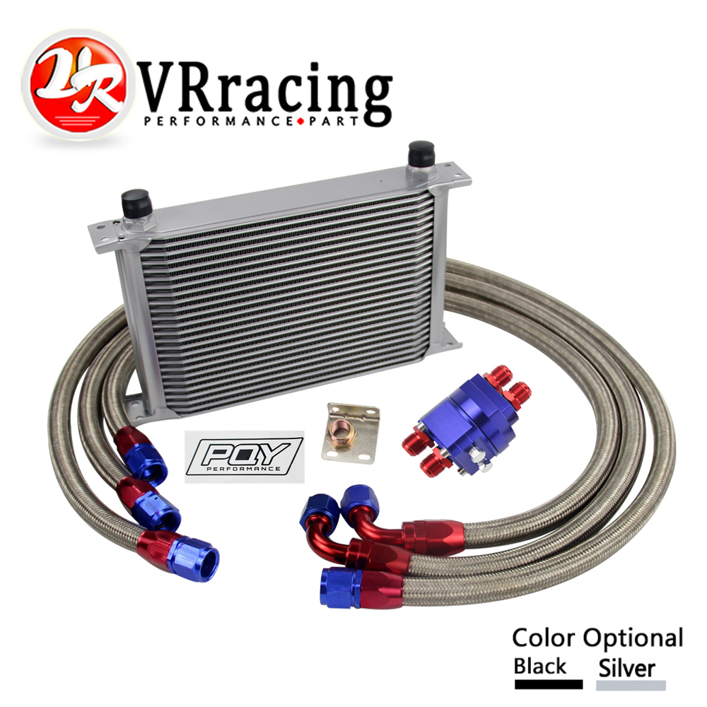 Oil Filter Relocation Kit Silver 25 Row AN10-10AN Universal Engine Transmission Oil Cooler Kit