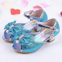 Girls Sandals 2016 High Heels Children Fashion Princess Leather Summer Elsa Shoes Chaussure Enfants Fille Sandalias