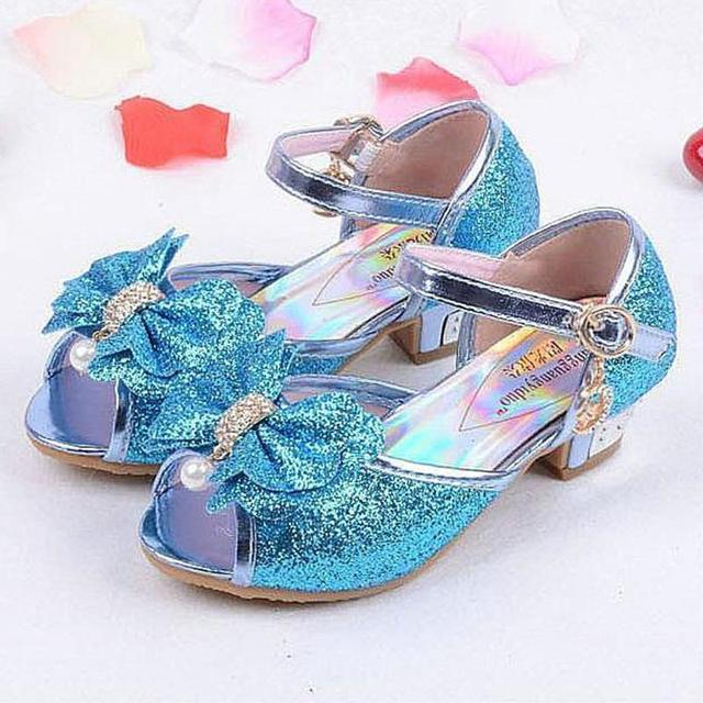 3af4b286 Sandalias para niñas 2018 tacones altos niños moda princesa cuero verano  elsa zapatos chaussure enfants fille