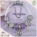 Muito Nova Coleção Estilo Europeu Popular E Bonito Roxo 925 Reais de Prata Charm Bracelet