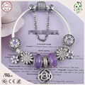 Very New Collection European Popular And Beautiful Purple Style 925 Real Silver Charm  Bracelet