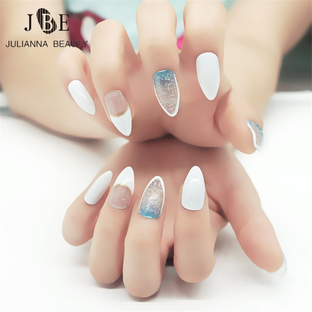 24pcs Stiletto Pointy Full False Nail Tips With Glue Almond Shape Multi Color Acrylic Gel Claw