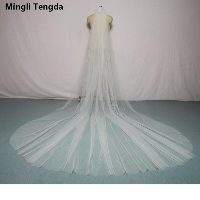 60bcf5b509 Mingli Teng Soft Bridal Veils With Comb One Layer 3 M Long 3 M Wide  Cathedral Wedding Veil Velos De Novia Ivory White Bride veil