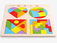 2019 New 4 in 1 Set IQ Wooden Puzzle Tangram Tetris Board Game for Children Large Size