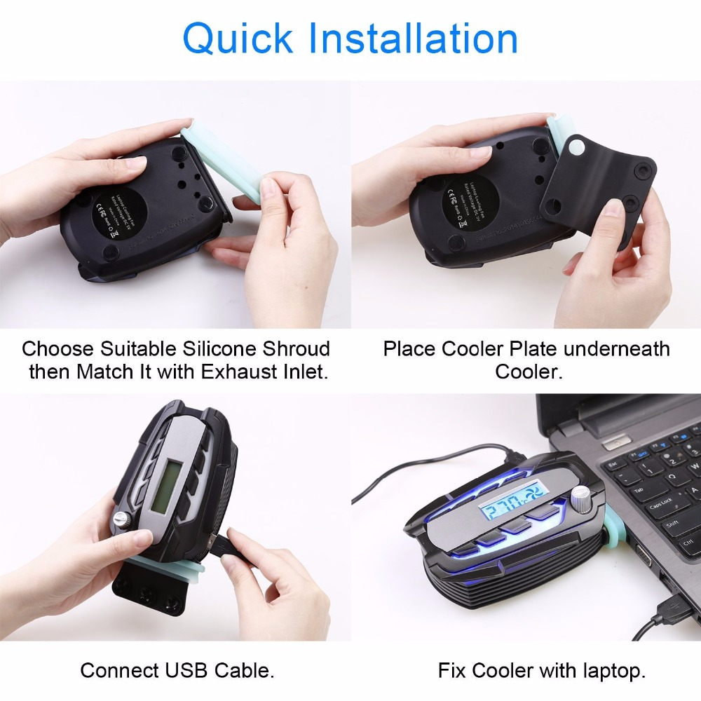 USB Notebook Cooler Cooling Fan Mini LCD Vacuum Laptop Cooler for