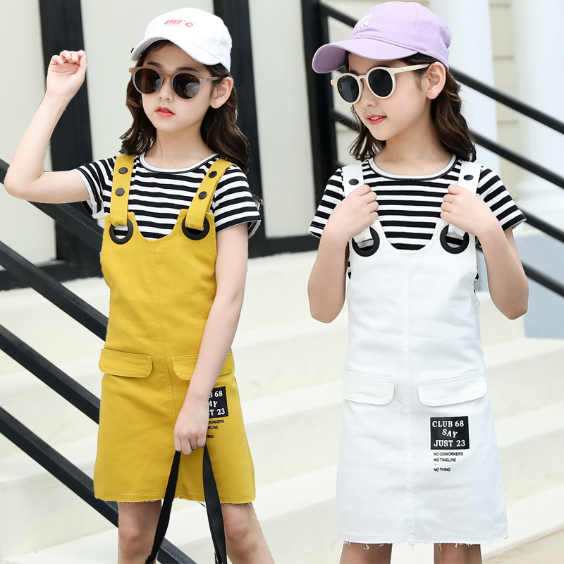 Girls Suspenders Dress 2 Pcs Set 2019 Summer Fashion Kids Stripe T-Shirts And Dresses Set For Girl 5 7 9 11 13 Year Clj144 33