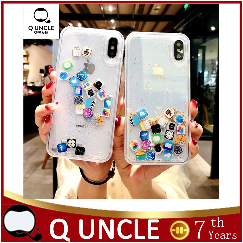 Q UNCLE Soft Rubber Cute App Icon Glitter Quicksand Phone Ca