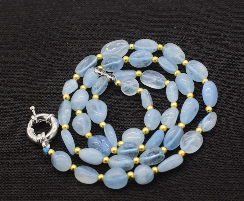 aquamarine blue baroque 6-13mm necklace 19inch wholesale nature beads FPPJ gemstone