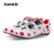 Santic Cycling Shoes Men Ultralight Carbon Fiber Road Bike Shoes Self locking Bicycle Shoes Sports Zapatillas