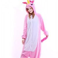 Hot Thicker Flannel Pajamas Pink Unicorn Pajamas Sets Cosplay Adult Women Sleepwear Winter Night Suit Set
