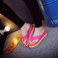 2016 Spring Summer High Heel Wedge Slippers Women Platform Casual Women Flip Flop Light Soft Women