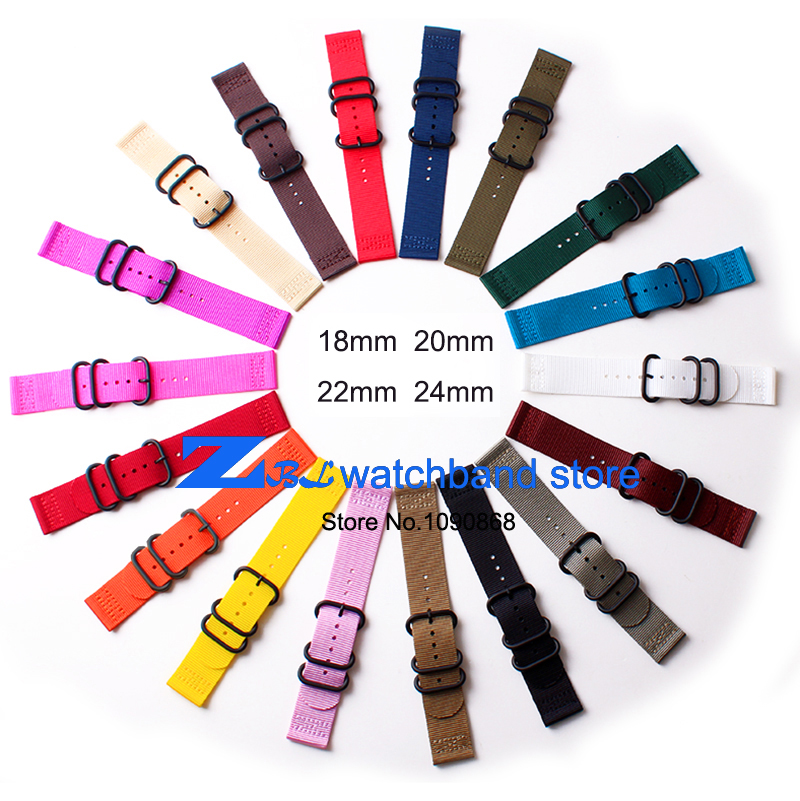 wholesale Nylon watchband watch strap steel buckle sport perlon wrist band 18 20 22 24mm wristwatches