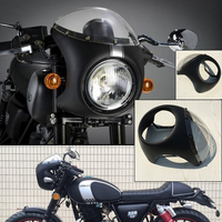 MAYITR Motorcycle Retro Cafe Racer Style Headlight Handlebar Fairing With Screen Universal Fit 7 Inch Motorbike
