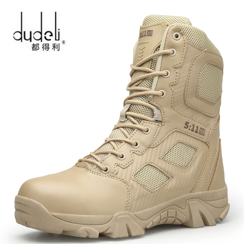 2018 Outdoor Waterproof Hiking Shoes For Men Desert High-top Military Tactical Boots Combat Army Boots Hunting Shoes Big Size 47(China)